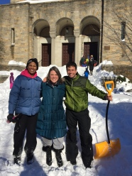 Karen Miriam and Daniel during the blizzard of 2016